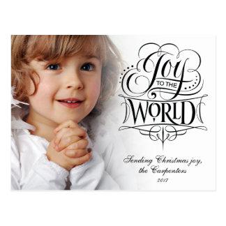 Joy to the World Elegant Christmas Calligraphy Postcard