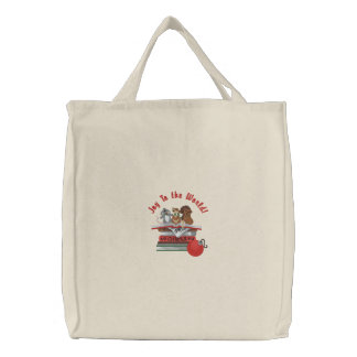Joy To the World Embroidered Tote Bag