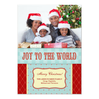 Joy to the World Family Photo Christmas 13 Cm X 18 Cm Invitation Card