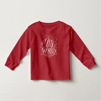 Joy to the World Fancy Calligraphy Christmas Red Toddler T-Shirt
