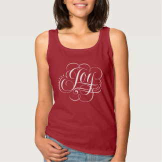 JOY to the World Fancy Flourished Christmas Red Singlet