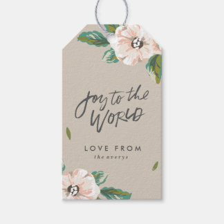 Joy To The World Floral Gift Tags - Taupe