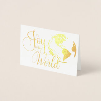 Joy to the World Handlettered Christmas Foil Card