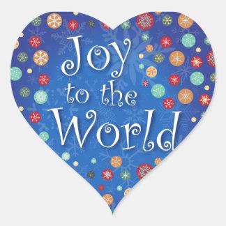 Joy to the World Happy Polka Dot Snowflake Design Heart Sticker