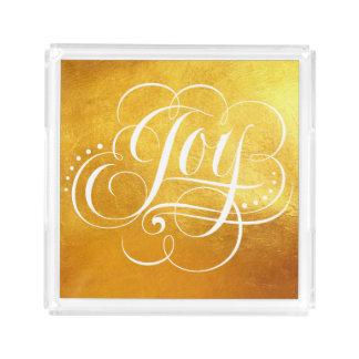 JOY to the World Luxury Gold Christmas Lettering Acrylic Tray