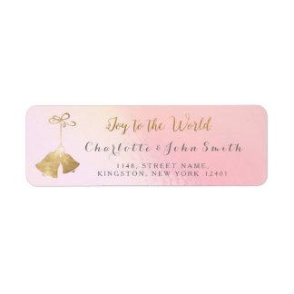 Joy To The World Pink Gray Rose Golden Bells Return Address Label