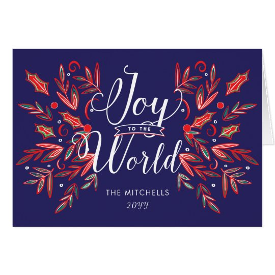 Joy to the World Red Foliage Photo & Text Card