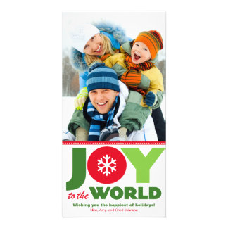 Joy to the World Red & Green Holiday Photo Card