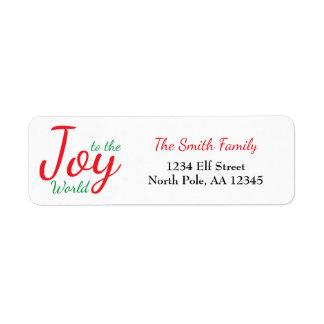 Joy to the World Return Address Label