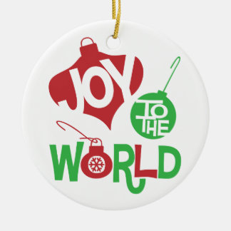 Joy to the World Round Porcelain Holiday Ornament