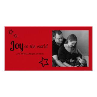 Joy to the World - Simply Modern Holiday Christmas Customised Photo Card