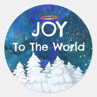 Joy To The World Snowy Christmas Trees Classic Round Sticker