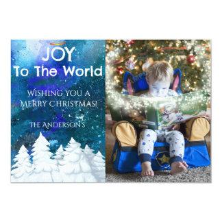 Joy To The World Snowy Trees Photo Christmas Card