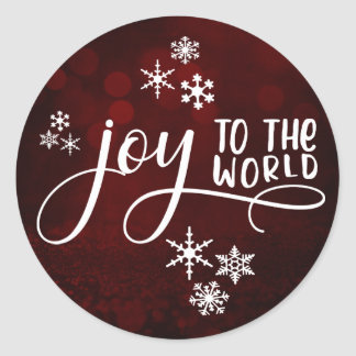 Joy to the World Typography and Snowflakes 2 Classic Round Sticker