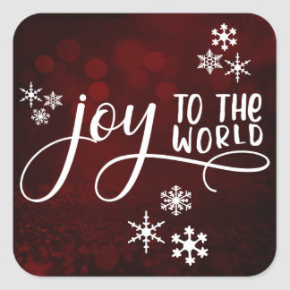 Joy to the World Typography and Snowflakes 3 Square Sticker