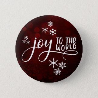 Joy to the World Typography and Snowflakes 6 Cm Round Badge