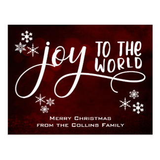 Joy to the World Typography and Snowflakes Postcard