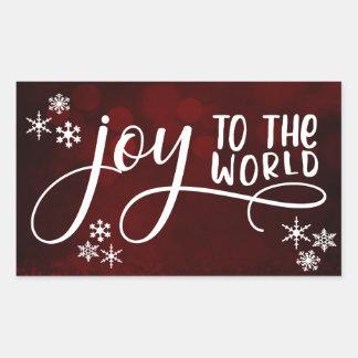 Joy to the World Typography and Snowflakes Rectangular Sticker