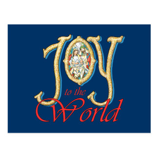 Joy to the World with Stained Glass Nativity Postcard