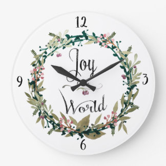 Joy to the World Wreath Large Clock