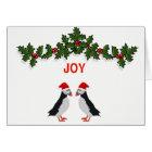 Joy twin puffins Christmas card