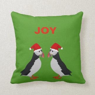 """Joy"" Twin puffins Christmas pillow"