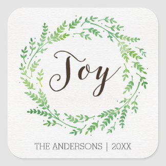 Joy watercolor wreath Christmas Stickers
