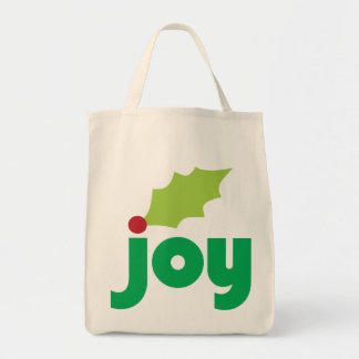 Joy with Holly Leaf and Berry Organic Grocery Tote Grocery Tote Bag
