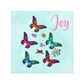 Joy with Pretty Little Butterflies Illustration Canvas Print