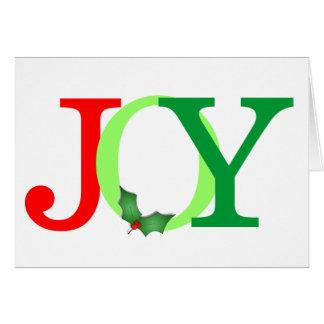 JOY Word Holly Berries Simple Colorful Christmas Card