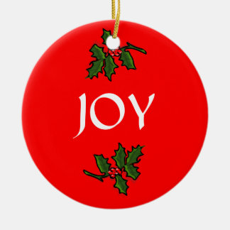 Joy Word Holly with Red Berries Christmas Green Round Ceramic Decoration