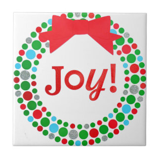 Joy Wreath Ceramic Tile