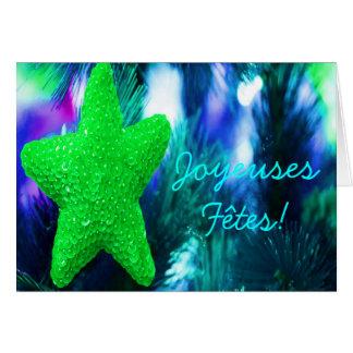 Joyeuses Fêtes et bonne année Green Star I Greeting Cards
