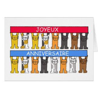 Joyeux anniversaire Cartoon cats Happy Birthday Card