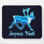 Joyeux Noёl - Blue Caribou (Reindeer) Mousepads