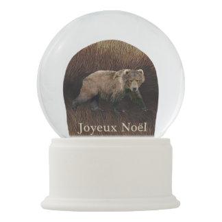 Joyeux Noёl - Kodiak Bear On Caribou Fur Snow Globe