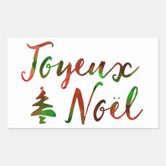 Joyeux Noel bokeh tree lights Rectangular Sticker