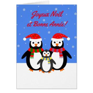 Joyeux Noël Bonne Année penguins french language Card