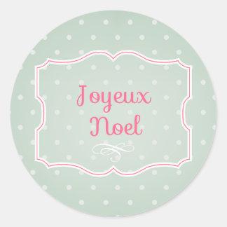 Joyeux Noel Cupcake Topper/Sticker Classic Round Sticker
