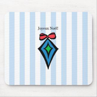 Joyeux Noël Diamond Ornament Mouse Pad Blue
