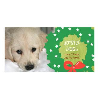 Joyeux Noel Dog Photo Cards Wreath Green