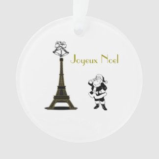Joyeux Noel Eiffel Tower Paris Christmas Ornament