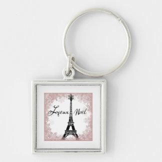Joyeux Noël Eiffel Tower Paris Christmas Print Silver-Colored Square Key Ring