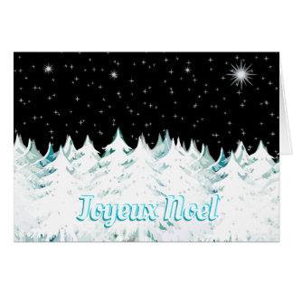 Joyeux Noel Eve Night Stars Snow Laden Trees Card