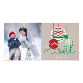Joyeux Noel Festive Chevron Holiday Photo Card