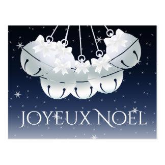 Joyeux Noel French Canadian Night Sky Bells Bows Postcard