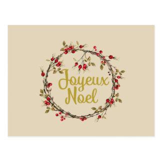 Joyeux Noel French Rustic Christmas Wreath Postcard