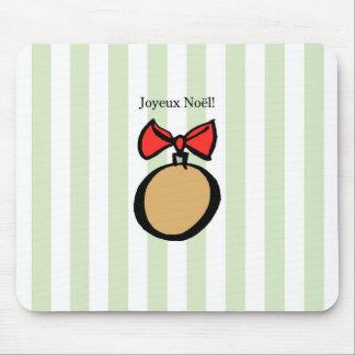 Joyeux Noël Gold Round Christmas Ornament Green Mouse Pad