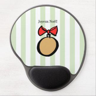Joyeux Noël Gold Round Ornament Gel Mouse Pad GRN