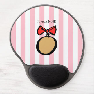 Joyeux Noël Gold Round Ornament Gel Mouse Pad Pink